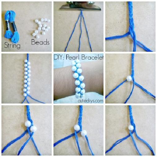 hacer pulseras de hilo con perlas
