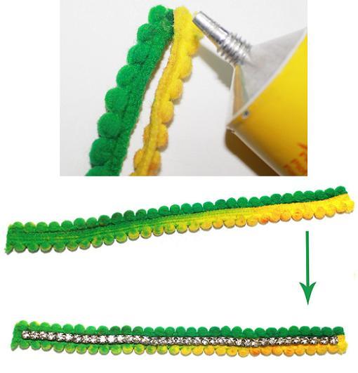 hacer pulseras de strass y pompones